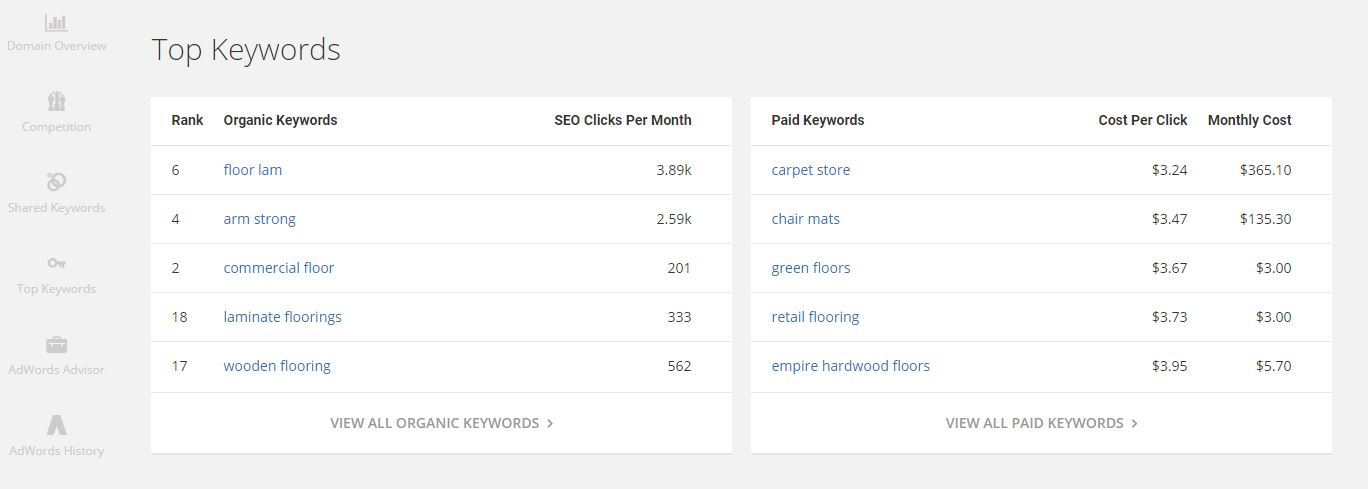 SpyFu competitor keyword analysis