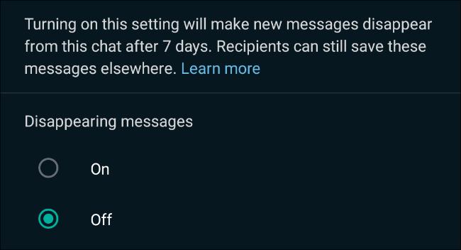 تمكين اختفاء الرسائل في محادثات WhatsApp