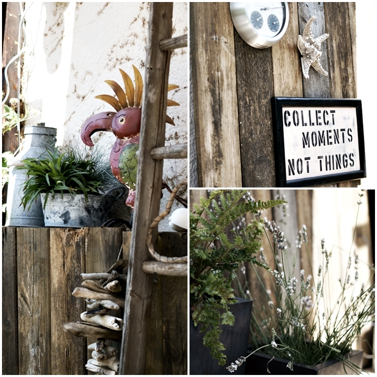 Blog + Fotografie by it's me! - 12tel Blick Juli 2015 - Collage von der Wandverkleidung und Deko auf der Terrasse