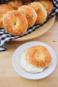 These quick asiago cheese bagels take way less time than traditional bagels, but they are every bit as delicious. They're packed with cheese, and so tender and chewy!