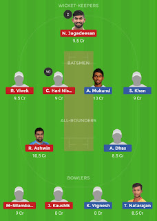 Dream11 team for DIN vs LYC 25th Match | Fantasy cricket tips | Playing 11 | TNPL dream11 Team | dream11 prediction |