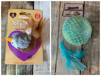 What's In The Box ©BionicBasil® Gus & Bella Spring Kitten Box Tune Chaser Bird and Mermaid Ball