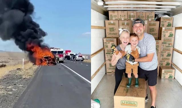 """Família testemunha livramento após ter carro em chamas: """"Vemos a bondade de Deus"""""""