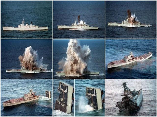 El casco de la fragata australiana HMAS Farncomb se hunde en un ejercicio de torpedo Mk.48 ADCAP.