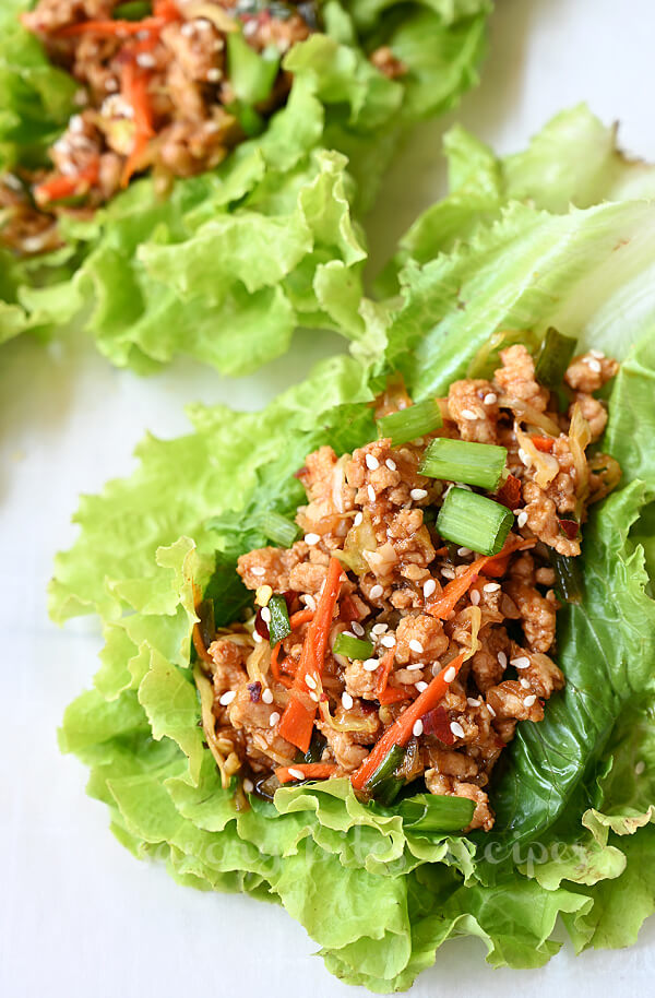 lettuce wraps made with easy thai chicken