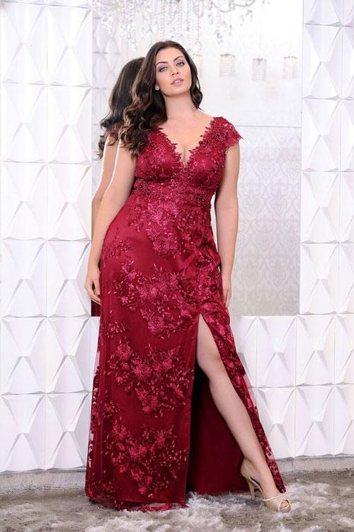 Rojo 2019 De Gorditas Vestidos Largo Para Vestido Spmuzqv