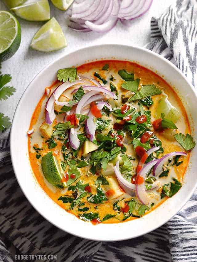 This Thai Curry Vegetable Soup is packed with vegetables, spicy Thai flavor, and creamy coconut milk. Ready in about 30 minutes!