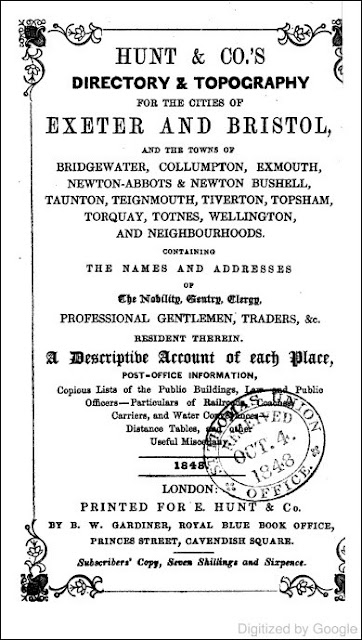 Hunt & Co.'s Directory & Topography for the Cities of Exeter and Bristol