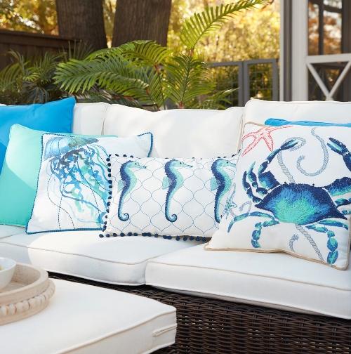 Coastal Sea Life Outdoor Pillows Blue White