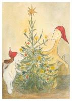 Postcard illustration of Hulmu Hukka and Haukku Spaniel playing around a Christmas tree