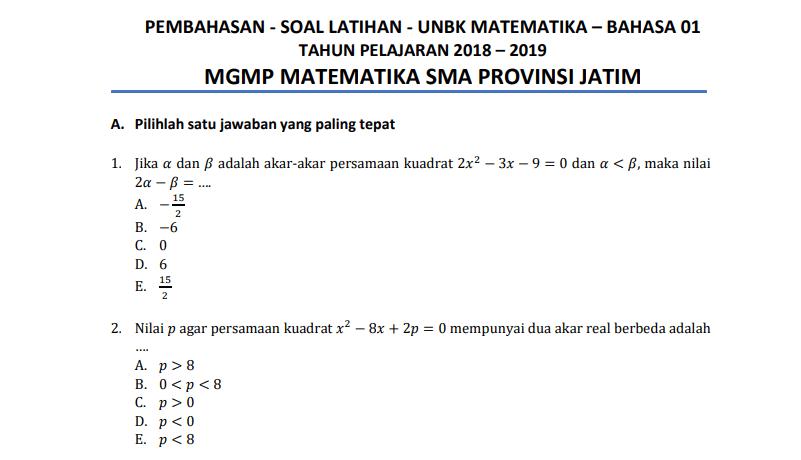 Latihan Soal UNBK Matematika SMA 208/2019 + Pembahasan (Bahasa, IPA, & IPS)