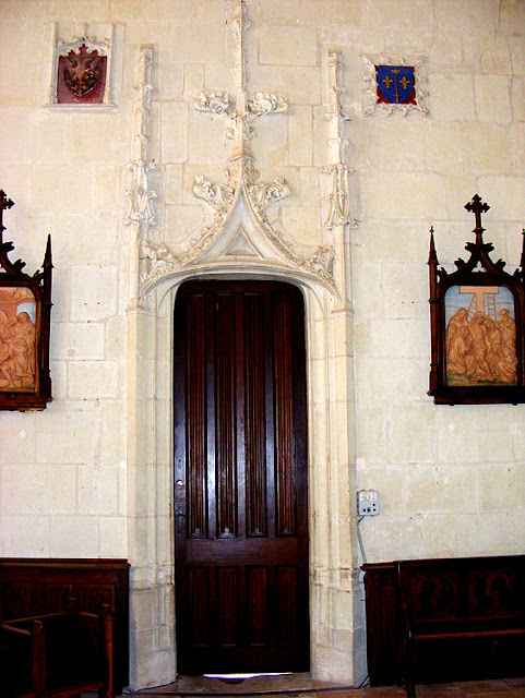 Internal door in the church, Sainte Catherine de Fierbois, Indre et Loire, France. Photo by Loire Valley Time Travel.