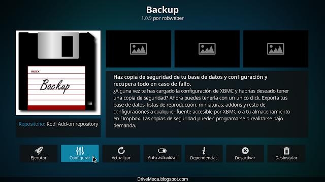 Debemos configurar el addon Backup