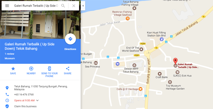 Peta Lokasi Upside Down House Gallery Teluk Bahang