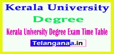 Kerala University Degree Exam Time Table