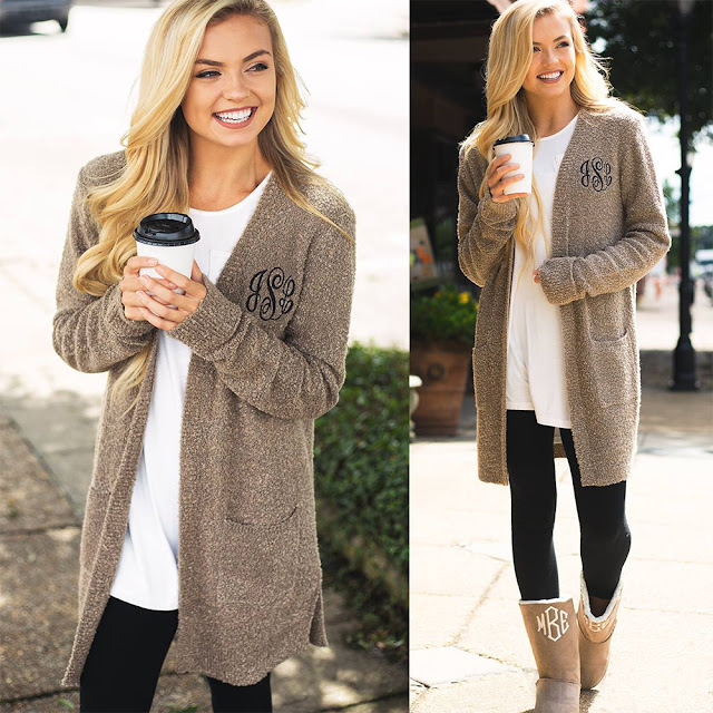 monogram cozy cardigan sweater