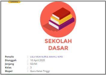 Download RPP Daring SD Kelas 3 Guru Kelas Tinggi