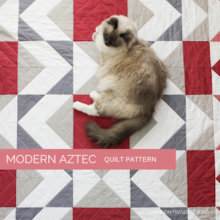 Pips on Mod Rose Modern Aztec Quilt | Shannon Fraser Designs #catsonquilts #modernquilt