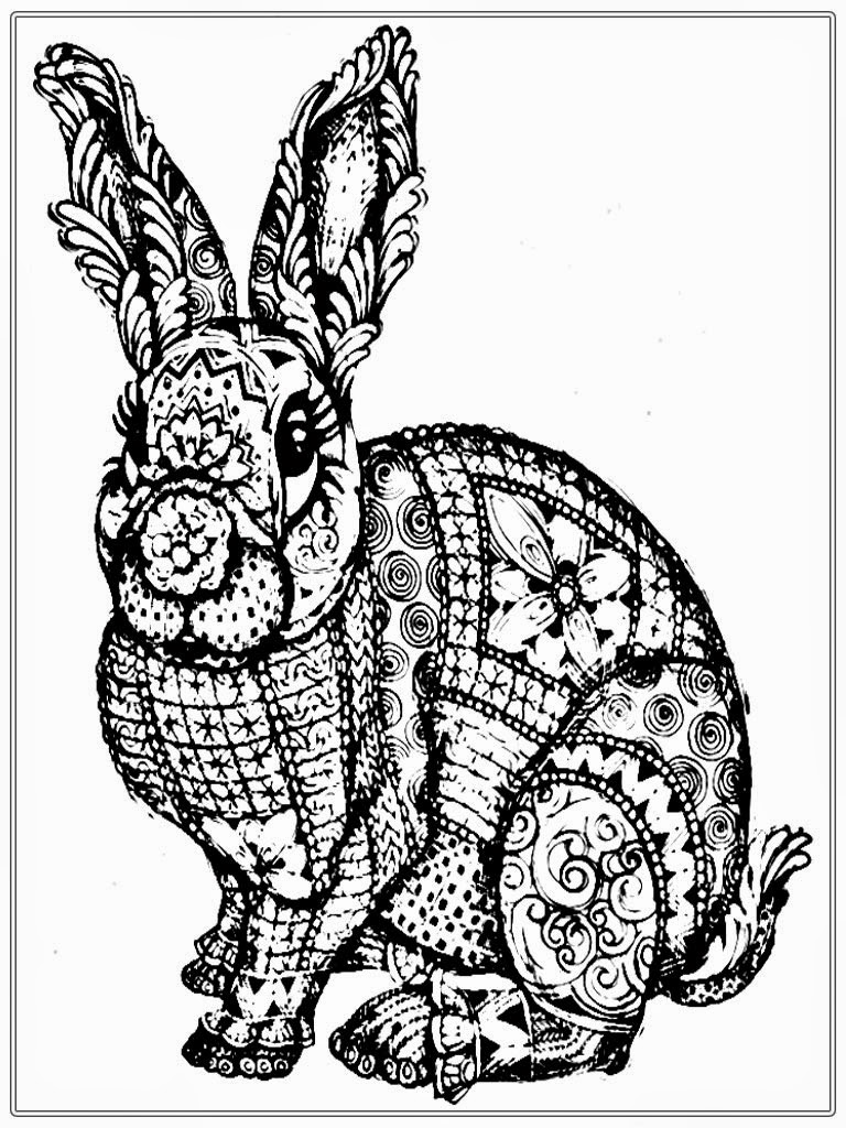 Free rabbit coloring pages for adult realistic coloring for Rabbit coloring pages