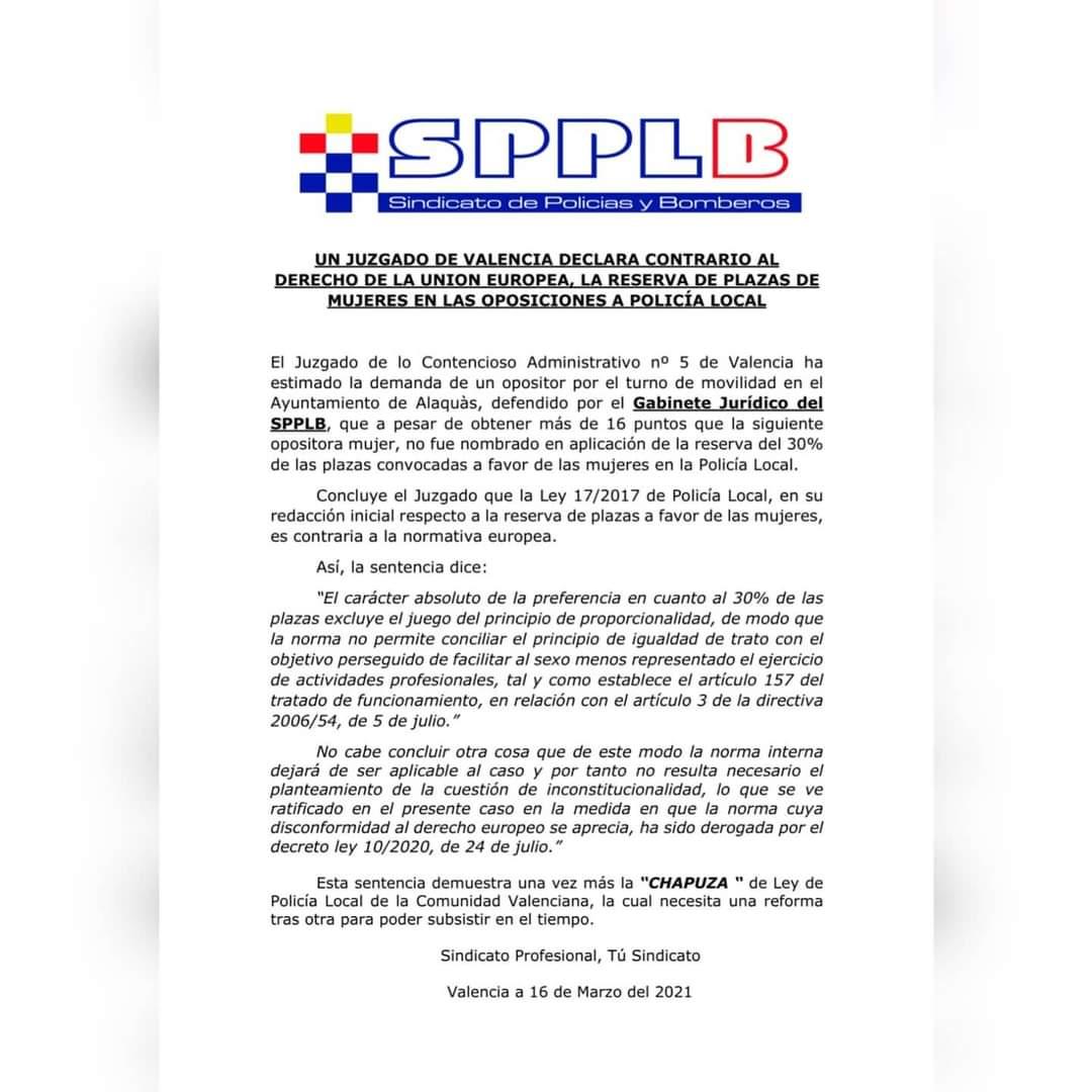 Un juzgado de Valencia se declara contrario a la reserva de plazas en la policía local
