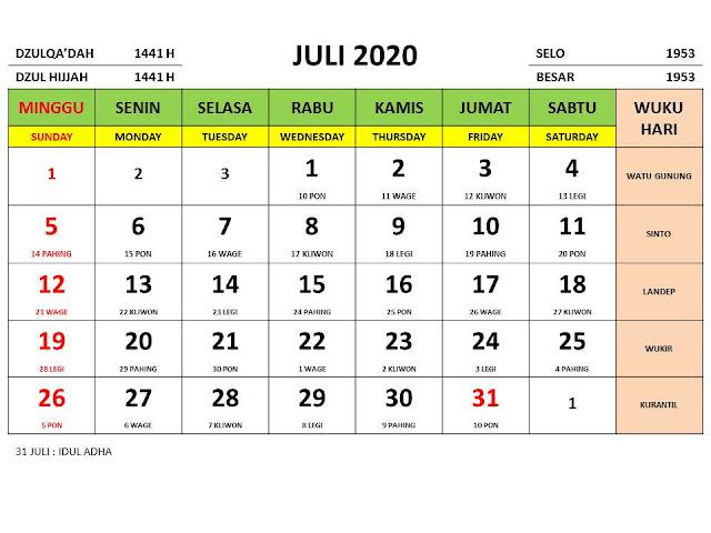 Kalender 2020 Jawa Bulan Juli