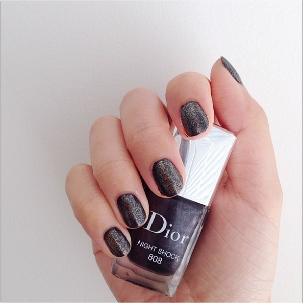 Part of the Dior Timeless Colour Icons Pre-Fall 2014 Collection, this is two coats of Dior Vernis Haute Couleur Gel Effect Nail Lacquer in 'Night Shock' worn under one coat of 'Reflects'.
