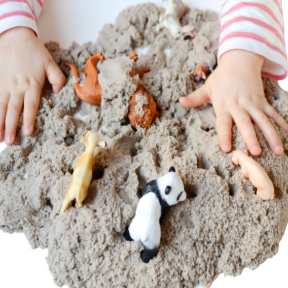 Wow kids of all ages with magic transforming, quicksand play dough! #quicksand #sandplaydough #playquicksand #quicksandsensoryplay #growingajeweledrose #activitiesforkids