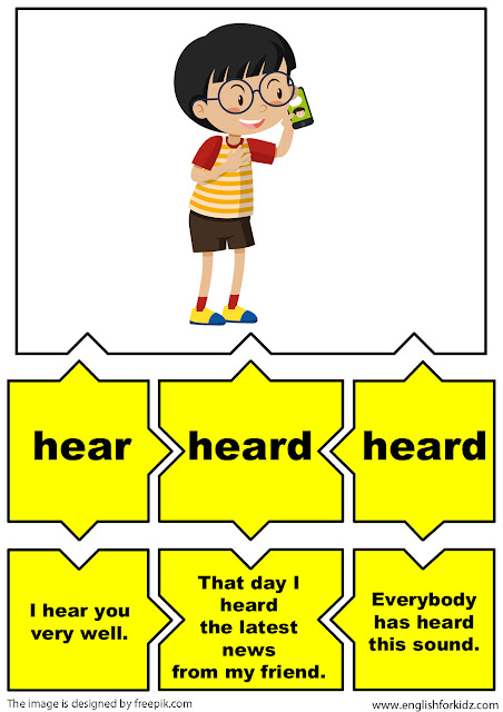 irregular verbs flashcards, verb hear