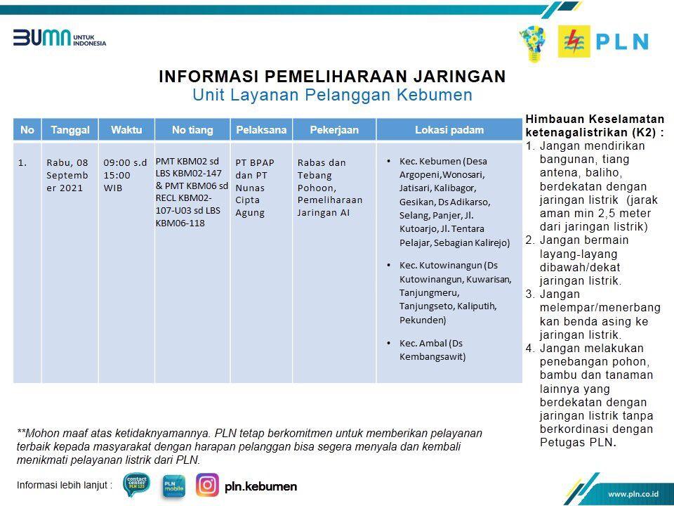 Ini Jadwal dan Lokas Pemadaman Listrik Rabu 8 September 2021