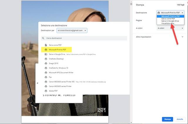 selezionare stampante Microsoft Print To PDF