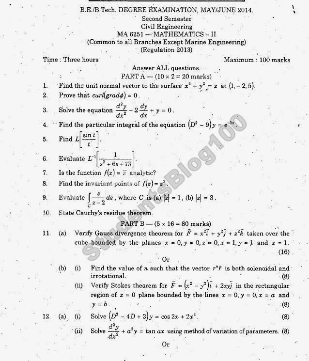 Ma6251 anna university maths 2 mayjune 2014 previous year ma6251 anna university maths 2 mayjune 2014 previous year question paper malvernweather Images