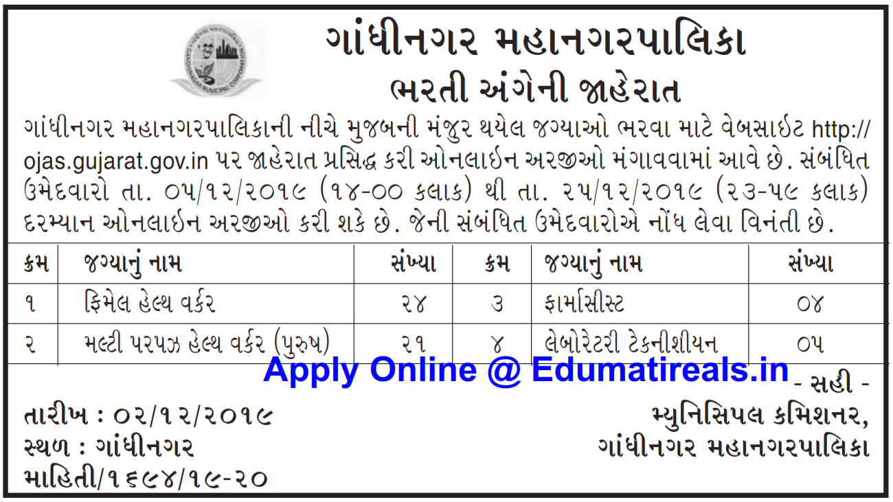 Gandhinagar Municipalities Recruitment For Female Health worker, Multipurpose Health Worker Male, Pharmacist And Laboratory Technician