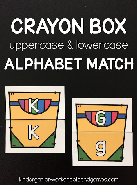 FREE Crayon Box Alphabet Match - this is such a fun way for preschool, prek, kindergarten age kids to practice matching uppercase letters with lowercase letters with a fun back to school activity! Perfect literacy center, extra practice, learning at home, or homeschool