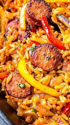 Sausage, Pepper and Rice Skillet Recipe