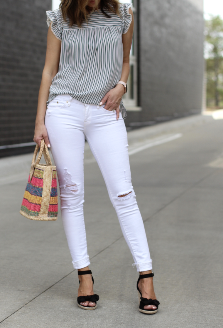 6a1e0733f9 White jeans outfit + must-have sleeveless tops ~ Lilly Style