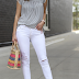 White jeans outfit + must-have sleeveless tops