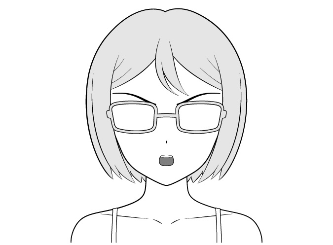 Anime gadis kutu buku gambar wajah penasaran