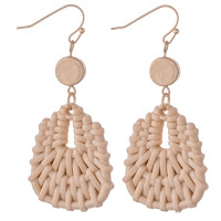 neutral cream woven rattan drop earrings