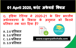 Daily Current Affairs Quiz in Hindi 01 April 2020