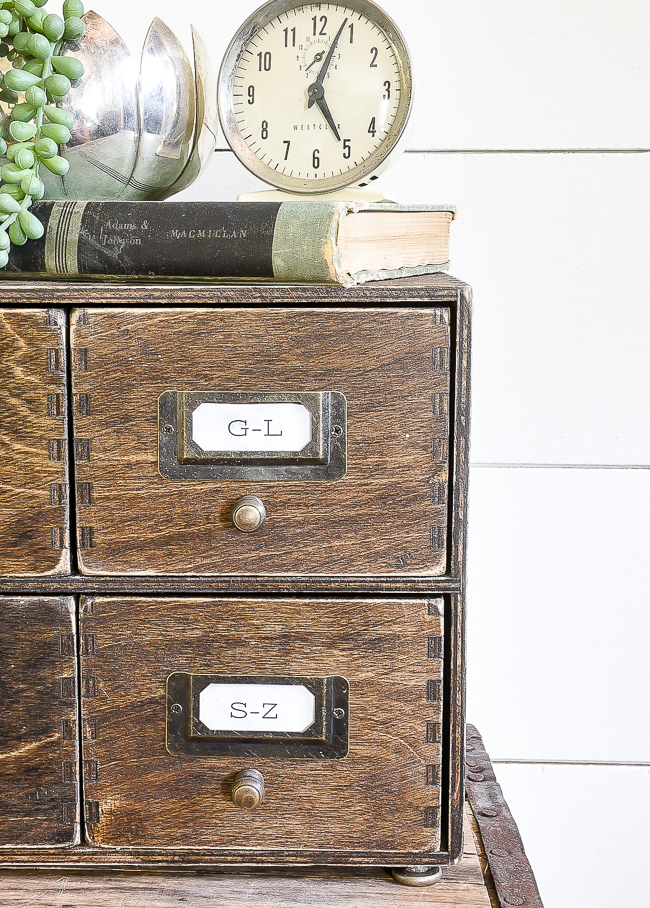 IKEA Mopped drawers turned vintage card catalog