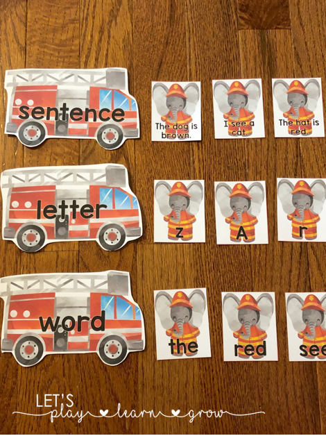 Sorting sentences, letters, and words with a fire safety theme