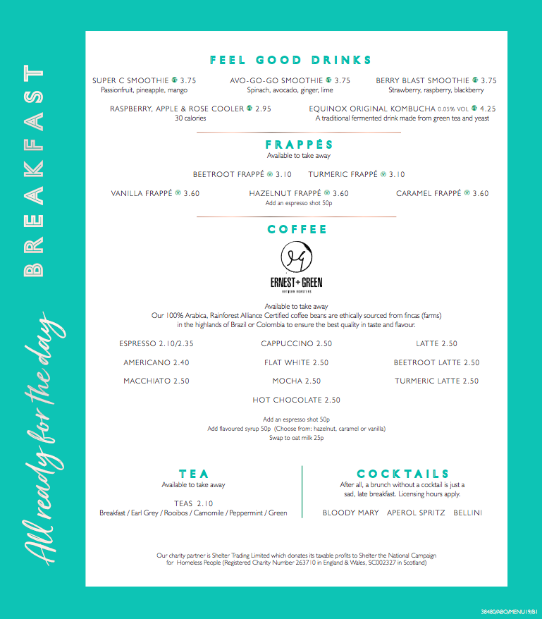All Bar One Newcastle Brunch Review - drinks menu