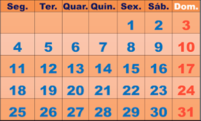 A foto mostra os dias de algum mês do ano.