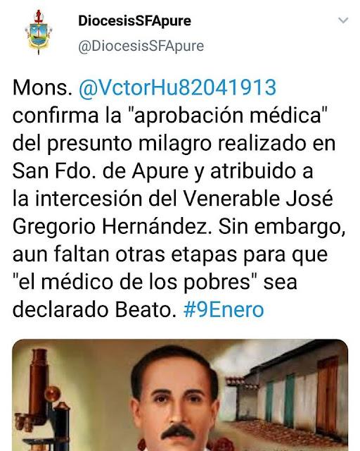 """APURE: Confirmada """"aprobación médica"""" del presunto milagro de José Gregorio Hernández realizado en San Fernando de Apure."""
