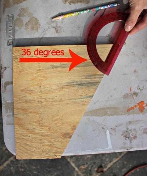 mark plywood at 36 degrees
