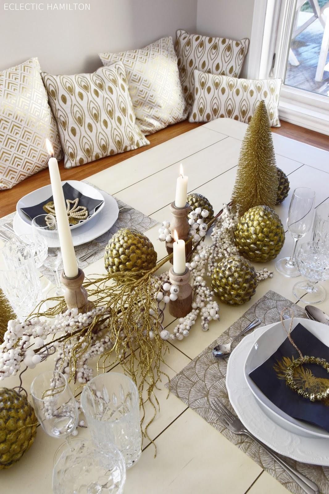 Tischdeko für Silvester in Gold, Tischdekoration Glänzende Dekoration Tisch Feiern Dekoidee