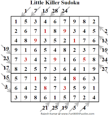 Little Killer Sudoku Puzzle (Fun With Sudoku #270) Solution