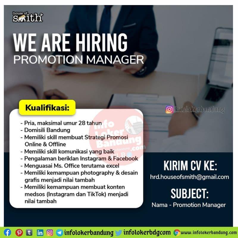 Lowongan Kerja Promotion Manager House Of Smith Bandung Mei 2021