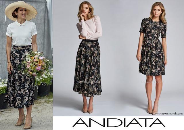 Crown Princess Mary wore Andiata Flower Print Maxi Skirt