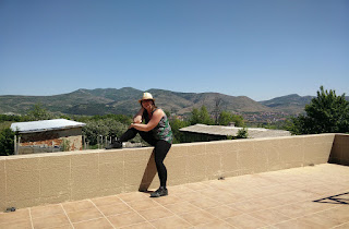 Beautiful woman in front of beautiful scenery